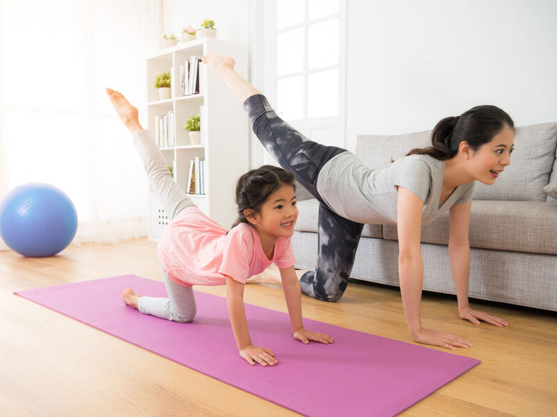 exercising with child
