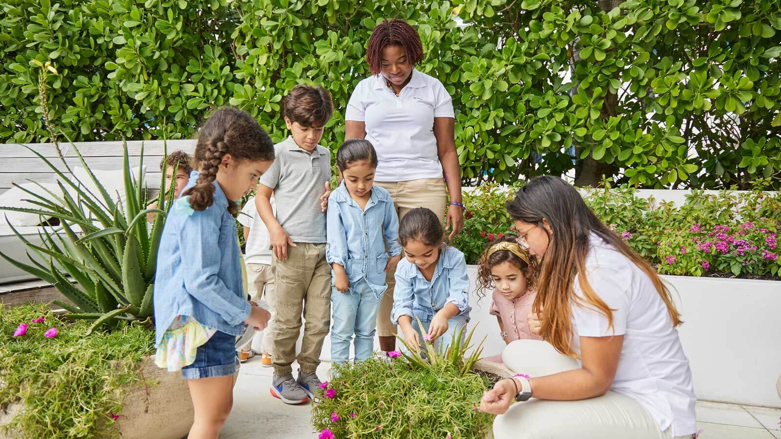 Children learning about plants and wildlife